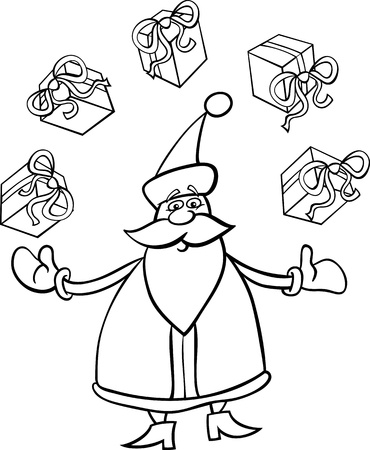 Cartoon Illustration of Funny Santa Claus or Papa Noel juggling Christmas Presents or Gifts for Coloring Book or Page Stock Vector - 16002022