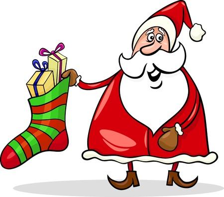 papa noel navidad: Ilustraci�n de dibujos animados de Funny Santa Claus o Pap� Noel con calcet�n grande lleno de regalos de Navidad o regalos