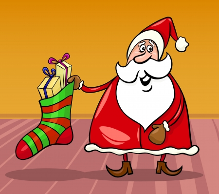 Cartoon Illustration of Funny Santa Claus or Papa Noel with Big Sock full of Christmas Presents or Gifts Vector