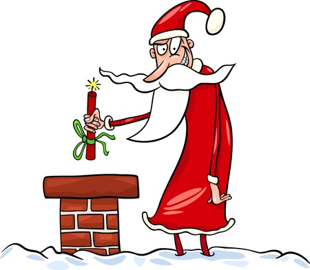 tnt: Cartoon Illustration of Malicious Funny Santa Claus or Papa Noel on the Roof with Stick of Dynamite as Christmas Present