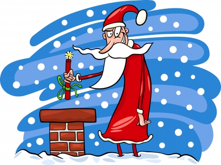 malicious: Cartoon Illustration of Malicious Funny Santa Claus or Papa Noel on the Roof with Stick of Dynamite as Christmas Present