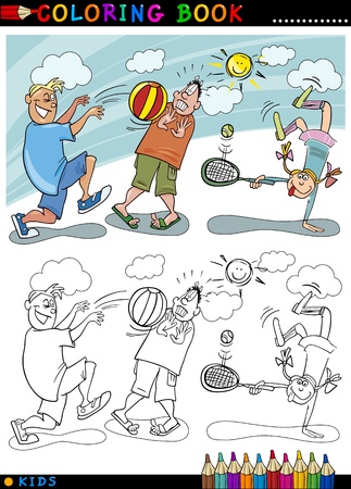 palying: Coloring Book or Page Cartoon Illustration of Boys palying Ball and Little Girl playing Tennis Illustration