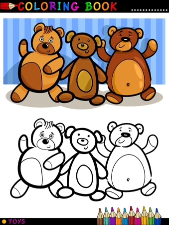 Coloring Book or Page Cartoon Illustration of Cute Teddy Bears Toys Stock Vector - 16002040