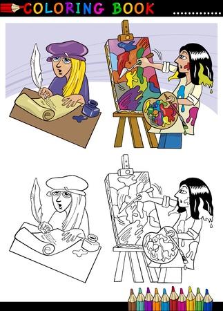 a poet: Coloring Book o Page Ilustraci�n de la historieta del poema writting Poeta y pintor pintura al �leo Picture Vectores