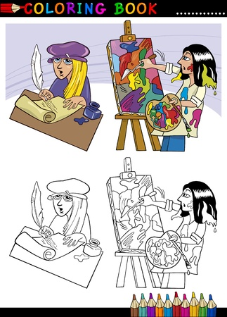 Coloring Book or Page Cartoon Illustration of Poet writting poem and Painter painting Oil Picture Vector