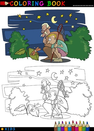 Coloring Book or Page Cartoon Illustration of Boy with his Grandfather looking at Moth Vector