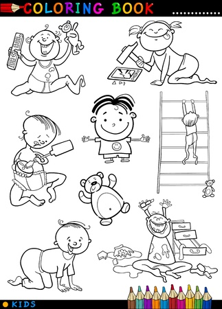 Coloring Book or Page Cartoon Illustration of Funny Cute Babies and Children Vector