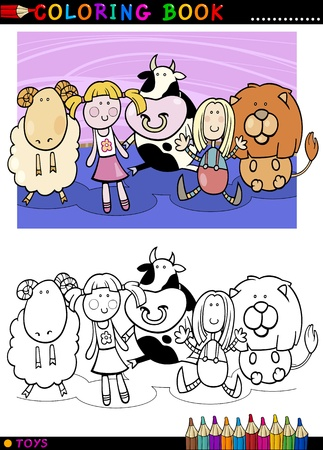 Coloring Book or Page Cartoon Illustration of Cute Mascot Toys Vector
