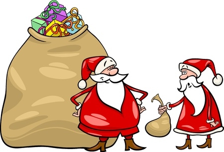 Cartoon Illustration of Funny Santa Claus or Papa Noel with Huge Sack Full of Christmas Presents and another Santa holding Very Small one Stock Vector - 16002048