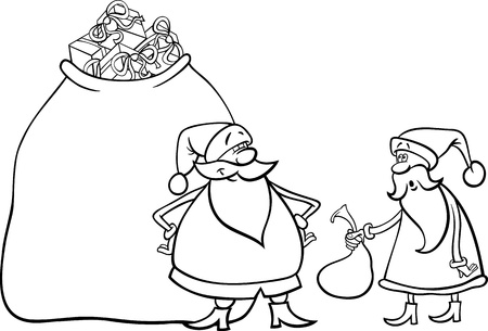 Cartoon Illustration of Funny Santa Claus or Papa Noel with Huge Sack Full of Christmas Presents and another Santa holding Very Small one for Coloring Book Vector