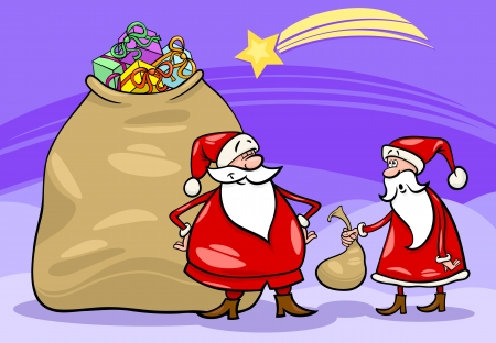 Cartoon Illustration of Funny Santa Claus or Papa Noel with Huge Sack Full of Christmas Presents and another Santa holding Very Small one Vector