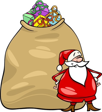 proud: Cartoon Illustration of Funny Santa Claus or Papa Noel with Huge Sack Full of Christmas Presents