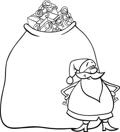 colorless: Cartoon Illustration of Funny Santa Claus or Papa Noel with Huge Sack Full of Christmas Presents for Coloring Book