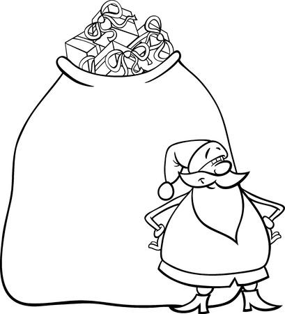 papa noel navidad: Ilustraci�n de dibujos animados de Funny Santa Claus o Papa Noel con el saco grande lleno de regalos de Navidad para Coloring Book