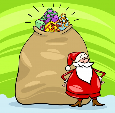 Cartoon Illustration of Funny Santa Claus or Papa Noel with Huge Sack Full of Christmas Presents Stock Vector - 15992259