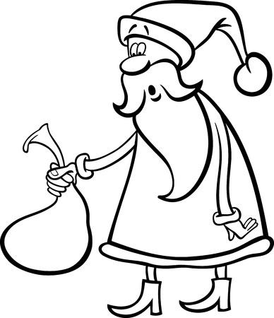 papa noel navidad: Ilustraci�n de dibujos animados de Funny Santa Claus o Pap� Noel que sostiene Sack muy peque�o con los regalos de Navidad para Coloring Book