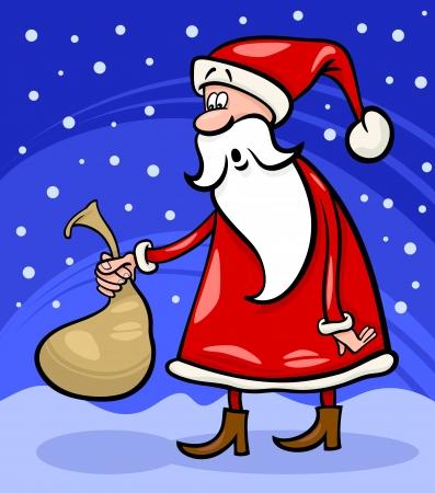 papa noel navidad: Ilustraci�n de la historieta divertida de Santa Claus o Pap� Noel que sostiene Sack muy peque�o con regalos de Navidad
