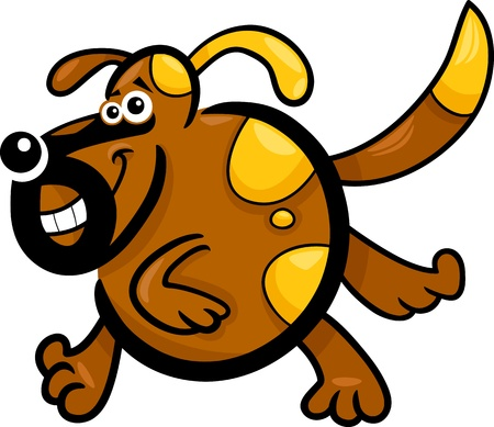 Cartoon Illustration of Funny Running Playful Dog or Puppy Vector