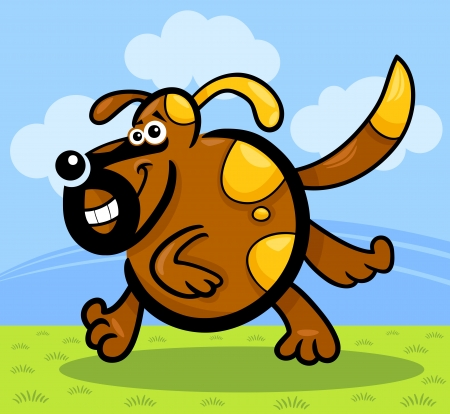 Cartoon Illustration of Funny Running Playful Dog or Puppy against blue sky and green grass Stock Vector - 16099054