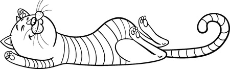 grey tabby: Cartoon Illustration of Funny Sleeping Tabby Cat for Coloring Book