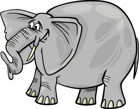 Cartoon Illustration of Funny Gray African Elephant Stock Vector - 16099079