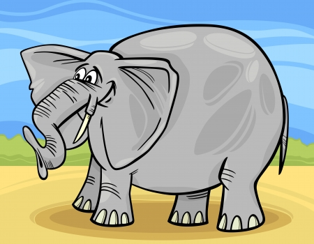 Cartoon Illustration of Funny Gray African Elephant Vector