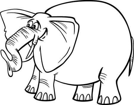 Cartoon Illustration of Funny Gray African Elephant for Coloring Book Vector