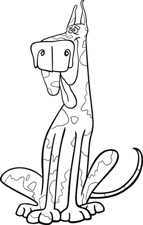 sit stay: Cartoon Illustration of Funny Purebred Spotted Harlequin Dog for Coloring Book