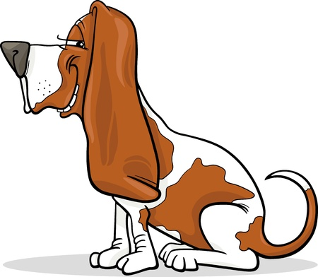 Cartoon Illustration of Funny Purebred Spotted Basset Hound Dog