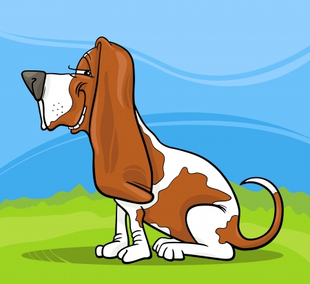 Cartoon Illustration of Funny Purebred Spotted Basset Hound Dog against Blue Sky and Green Grass Illustration