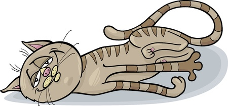 Cartoon Illustration of Happy Sleepy Tabby Cat Vector