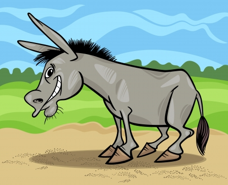 Cartoon Illustration of Funny Donkey Farm Animal against Blue Sky and Field Vector