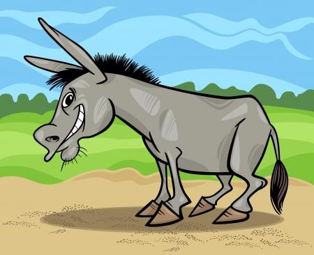 mane: Cartoon Illustration of Funny Donkey Farm Animal against Blue Sky and Field