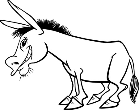Ilustraci�n de dibujos animados Funny Farm Animal Burro para Coloring Book