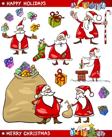 Cartoon Illustration of Santa Claus or Papa Noel with Sack of Gifts, Sock and Cane and other Christmas Themes set Vector
