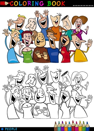Coloring Book or Page Cartoon Illustration of Happy People Group having Fun and Laughing Stock Vector - 16213929