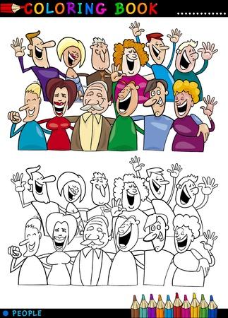 karikatuur: Coloring Book of Page Cartoon Illustratie van Happy People Group plezier en lachen Stock Illustratie