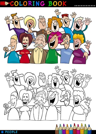caricaturas de personas: Libro para colorear o ilustraci�n de dibujos animados P�gina de Grupo feliz a la gente divirti�ndose y riendo