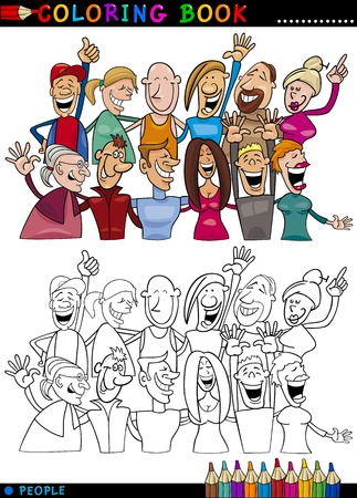 Coloring Book or Page Cartoon Illustration of Happy People Group having Fun and Laughing Vector