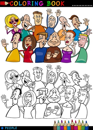 Книжка-раскраска или иллюстрации Page Мультфильм Счастливый группа людей, веселья и смеха Фото со стока - 16213935