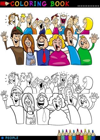 dibujos para pintar: Libro para colorear o ilustraci�n de dibujos animados P�gina de Grupo feliz a la gente divirti�ndose y riendo
