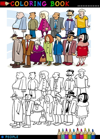 queue of people: Coloring Book or Page Cartoon Illustration of People Group Staying in Queue Illustration