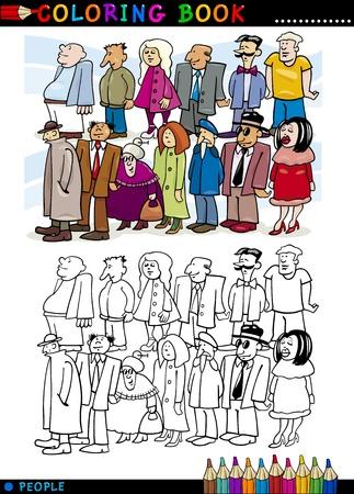 caricaturas de personas: Libro para colorear o ilustraci�n de dibujos animados P�gina de People Group permanecer en cola Vectores