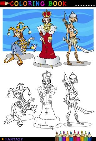 tonto: Libro para colorear o ilustración de dibujos animados Página de Queen, Jester y Caballero Señora Personajes del cuento de hadas Fantasy