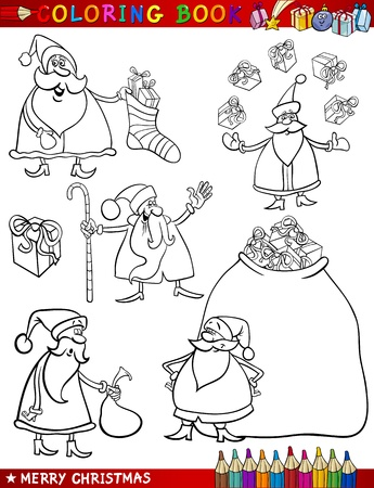 Coloring Book or Page Cartoon Illustration of Christmas Themes with Santa Claus or Papa Noel and Xmas Decorations and Characters Vector