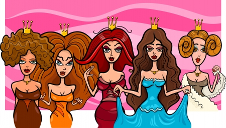Cartoon Illustration of Five Beautiful Princesses or Queens Fairytale Fantasy Characters Vector