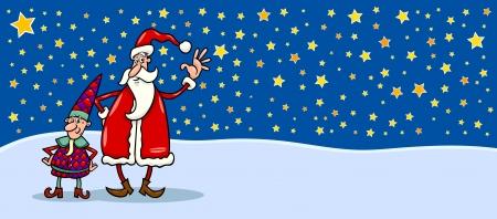 papa noel navidad: Tarjeta de felicitaci�n Ilustraci�n de dibujos animados de Santa Claus o Pap� Noel con la Navidad Elf contra Sky noche llena de estrellas Vectores