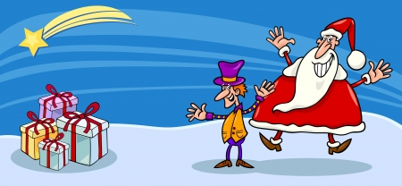 Greeting Card Cartoon Illustration of Santa Claus or Papa Noel with Christmas Elf and Presents Vector