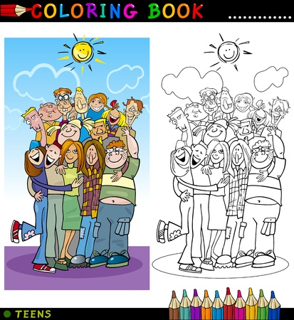 Coloring Book o ilustraci�n de dibujos animados P�gina de Happy Boys and Girls Grupo Adolescentes dar un abrazo y risa