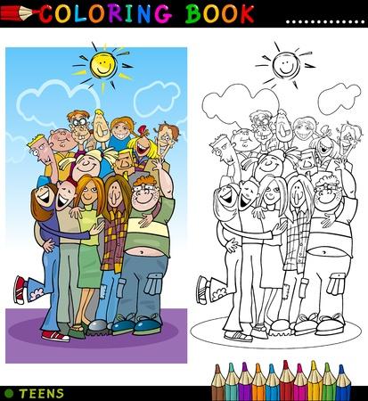 Coloring Book of Page Cartoon Illustratie van Happy Boys and Girls Tieners Group het geven van een knuffel en Laughing Vector Illustratie